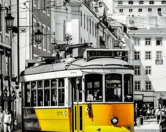 Lisbon Yellow Tram - Lisbon Trams - Black and White - Yellow - Neutral Decor - Stylish - Fine Art Photography  - Yellow Trams- 0106