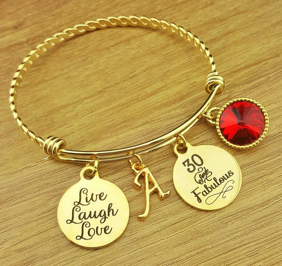Gold Bangle 30 Birthday Gift 30th Birthday Gift Birthday Gift Birthday Gifts for Her Birthday Gift for Friend Birthday Gifts 30 and Fabulous