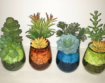Faux Succulent Planters in Colored Recycled Glass, Desk Accessory, Succulent Arrangement,  Tabletop Decoration, Succulent Gift