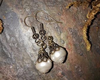 Glass Pearl Filigree Victorian Earrings