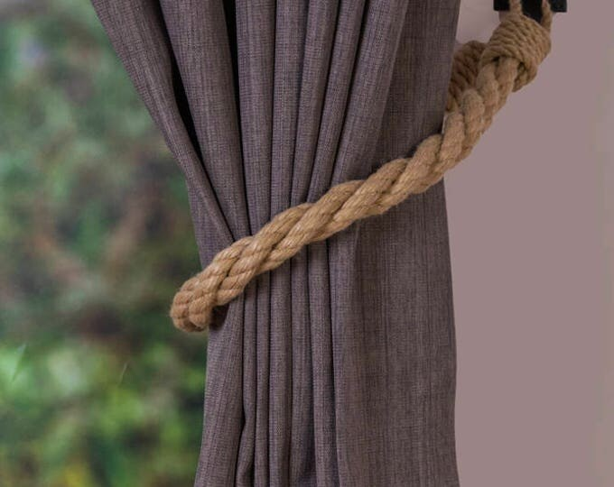 Hemp Rope Twist Tiebacks/ nautical ties/ rope curtain tiebacks/ shabby chic windows / curtain holdbacks/ rope ties/ nursery curtain tiebacks