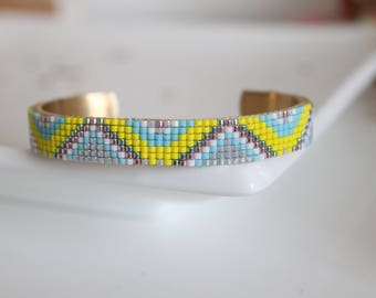 Bracelet manchette, manchette, bracelet perles tissées, bracelet jonc, bracelet perles Miyuki, bracelet femme, bracelet cadeau,