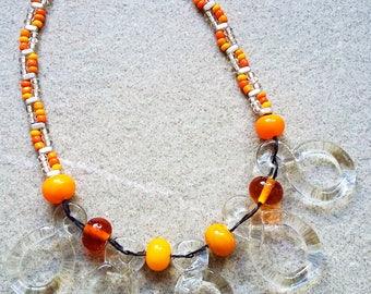 Orange Glass Loop Necklace