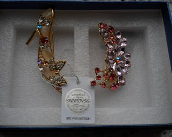 Two Swarovski Rhinestone Pin Brooches #736