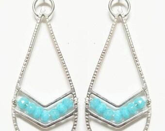 Sterling silver and aqua jade chevron/tribal earrings