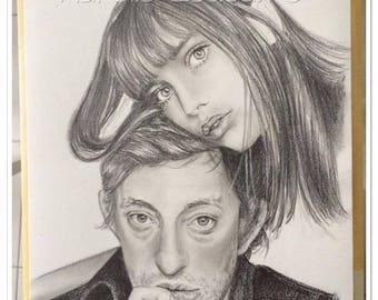 Gainsbourg and Birkin graphite pencil portrait
