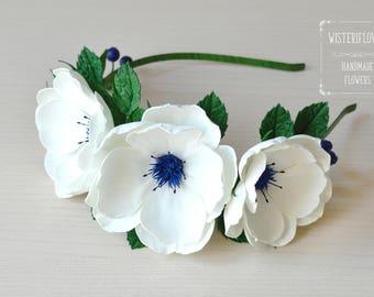 Rose Rustic Headband Wedding Ivory Blue Blueberries Hair flower Wedding Crown Wedding Flower Headband Wedding Crown Flower Head Wreath