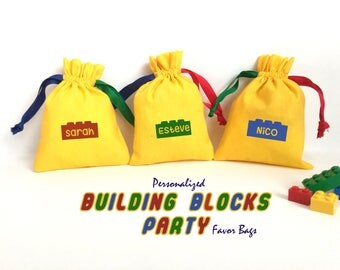 Personalized Building Bricks Blocks Goodie Bag-Party Favor Drawstring Bag Cotton. Perfect for Building Blocks Party Favor Gifts