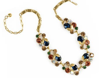 Rhinestone Flower Statement Necklace | Aurora Borealis Rhinestones | 1960s Vintage