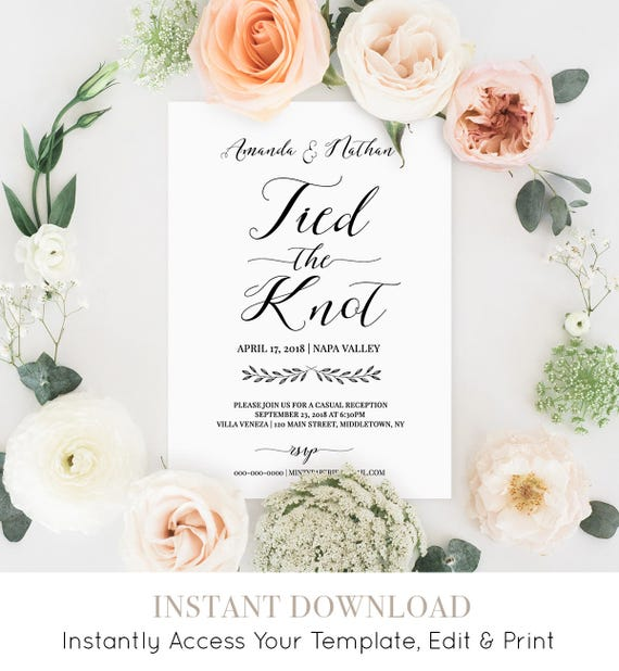 Eloped Announcement, Printable Elopement Wedding Invitation Template, Tied the Knot, Calligraphy, Instant Download, 100% Editable #024-106EL