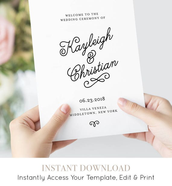 Folded Wedding Program Template, Printable Order of Service, Romantic Calligraphy, INSTANT DOWNLOAD, 100% Editable, Templett  #035-108WP