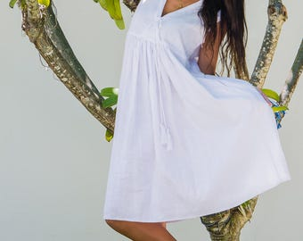 Linen Kyla Dress, Summer Dress, Linen Dress, Midi Dress, White Dress, 119-135