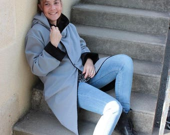 Gray hooded coat