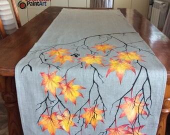 Fall Table Runner/Fall Leaves/Autumn Decor/Kitchen Linens/Holiday Linens/Tablecloths/Hand-painted/Handcraft/Thanksgiving Runner/Seasonal