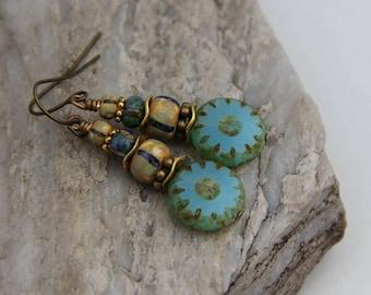 Green Aqua and Aged Tribal Striped Bead Earrings, Czech Glass Earrings, Rustic Earrings