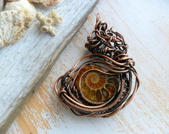 Ammonite pendant Wire wrapped pendant Ammonite fossil pendant Ancient Ammonite Fossil Copper wire wrapped woven OOAK Antique jewelry