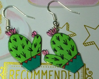 Sterling silver 925 earrings with a green and red cactus made with crazy plastic