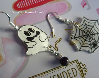 Earrings in sterling silver 925 ghost kawaii and spiderweb plastic hand painted crazy crazy halloween