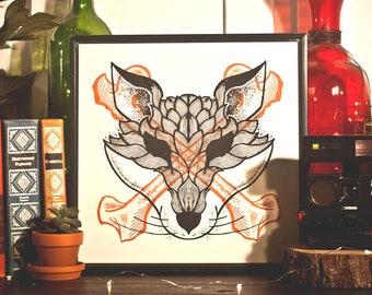 "Forest Bone Fox Art 12""x12"" Collectible Art Print"