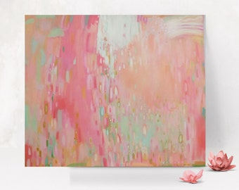 Pink Coral and Aqua Abstract Painting Pink and Coral Wall Art Pink Peach and Mint Abstract Nursery Art Pink Coral Nursery coral abstract art