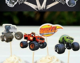 24 Pc Blaze and the Monster Machines Cupcake Toppers Double Sided Birthday Party Supplies