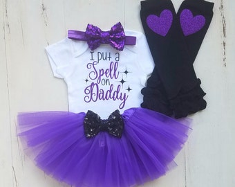Halloween Outfit, Baby Girl 1st Halloween Outfit, Girl Halloween Onesie, I Put A Spell On Daddy,Baby girl clothes,Baby girl Halloween Outfit