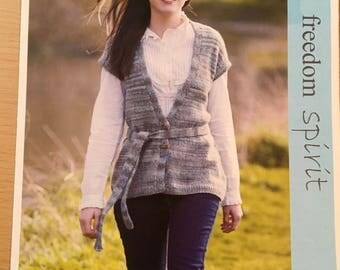 Ladies Long Waistcoat Knitting Pattern, Twilleys Knitting Pattern, Flared Long Waistcoat, Short Sleeve Cardigan, Ladies Belted Cardigan 9108