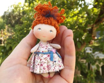 rag doll., fabric doll., little doll., gift for her., collectible doll., OOAK doll., miniature doll., handmade doll, cloth art doll