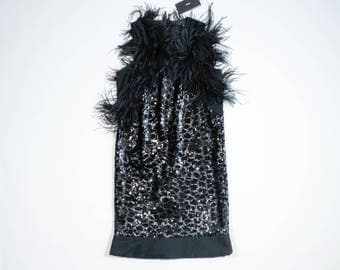 HUGO BOSS - Dress with paillettes and plumage