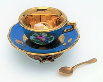 Rochard Limoges, France Porcelain Trinket Box, Tea Cup & Saucer with Spoon and Sugar Cube, Hand Painted, Signed