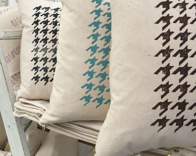 Organic throw pillow cover with classic houndstooth pattern! Choose brown, teal or midnight blue