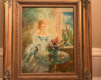 Vintage oil painting, portrait, signed, Italy1960s in frame
