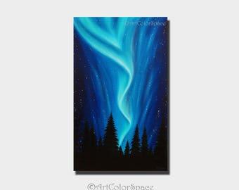Northern lights art Oil painting on canvas Night sky Aurora borealis art Northern lights Large painting Gift for him Aurora canvas Art