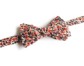 "Orange Floral Self Tied Bow Tie ""Laue"", Best Handmade Gift For Men, Weddings, Birthday, Valentines Day"