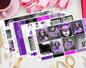Sugar Skull Planner Stickers Weekly Kit perfect for Erin Condren Vertical Life Planner, Recollections, TN, Filofax, Purple, Deco, Bats