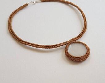 White onyx macrame necklace, White onyx macrame pendant, Gold macrame white onyx pendant