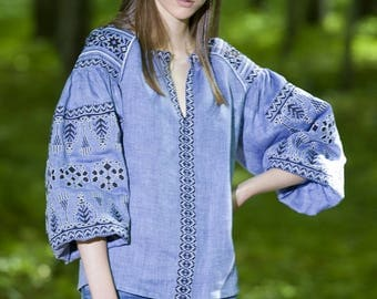 Blue Linen Ukraine Embroidered Blouse VYSHYVANKA Boho Chic Style MEXICAN embroidery. Free Shipping.