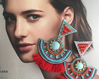 Statement Earrings, Tassel Earrings, Big Fringe Earrings, Threader Earrings, Tassel Long Earrings, Tribal Long Earrings,Ethnic Earrings,boho