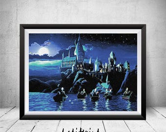 Harry Potter Poster, Harry Potter Artwork, Hogwarts Castle, Harry Potter Paintings, Harry Potter Print, Harry Potter Art, Wall Art, Hogwarts