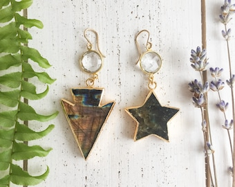 Labradorite star and arrowhead drop dangle gold-plated earrings with quartz connectors - celestial, bohemian valentine's day gifts for her