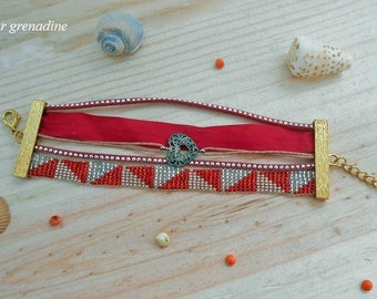 Cuff Bracelet beads woven, Ribbon and Red suede rhinestone, gift idea for great mother day, Easter