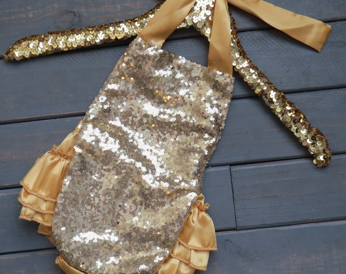 Gold Sequin Romper, Baby Girl Romper, Sequin Leotard, Birthday Girl Outfit, Baby's First Birthday, Gold Sparkle Romper, Gifts For Girls
