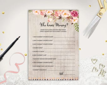 Floral Who Knows Mommy Best Printable Rustic Baby Shower Game Instant Download How Well Do You Know Mommy To Be Shabby Chic Quiz Trivia