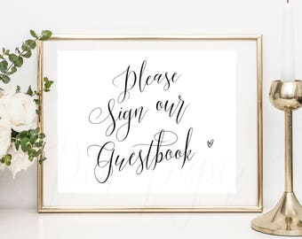 Please Sign Our Guestbook, printable guestbook sign, guest book sign, instant download, customised colour, guest book sign #PPSB55