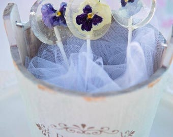 Viola Pansy Flower Lollipops - Flower Lollipop - Lollipop Favor - Viola Pansy Favor - Edible Viola Pansy - Flower Lollipop - Clear