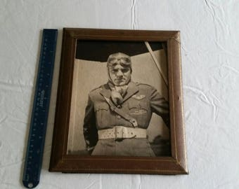 antique 1930 's james cagney 8x10 picture photo w/ cardboard frame - warners first national movie prop - air corps pilot uniform military