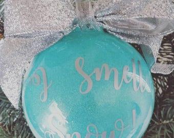 Gilmore Girls Ornament, I Smell Snow Glitter Christmas Ornament, Custom Christmas Gift, Holiday Decor, Christmas Decorations