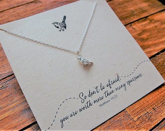 Silver Sparrow Necklace// Silver Bird Jewellery//Christian Jewellery//Christian Jewelry