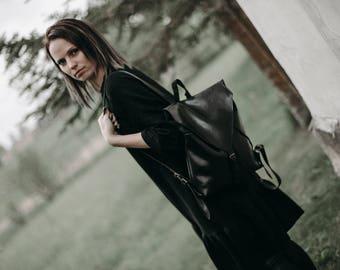 Black backpack, Vegan leather backpack, Rucksack, Glossy leather backpack, Faux Leather Backpack, School bag, Casual, Handmade, Travel bag