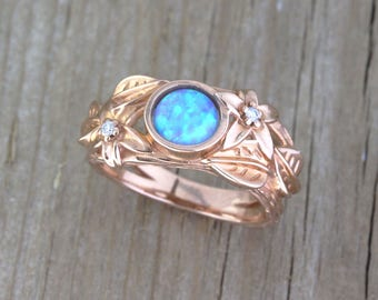 Nature inspired ring, rose gold leaf engagement ring, opal flower leaves ring, statement solid gold ring, twig ring unique anniversary gift